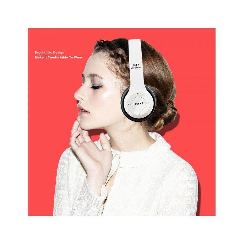 P47 Bluetooth 4.1 Headphone Wireless Headband Earphone WHITE