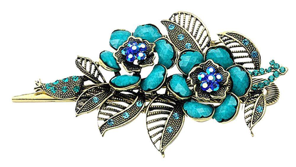Womdee Charm Rose Flowers Alligator Hair Clips,Antique BronzeLight Blue