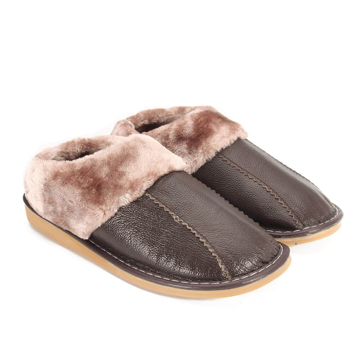e5fb8eb0f Winter Warm Fuzzy Cow Leather House Slippers for Men Fleece Lined Home Shoes