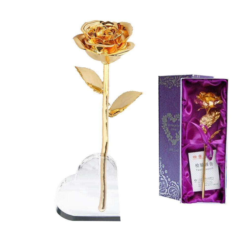 BINLI Gold Rose Premium Long Stem Romantic Gold Leaf 24k Gold-Plated Rose,Great Gift For Mothers Day, Valentines Day, Birthday