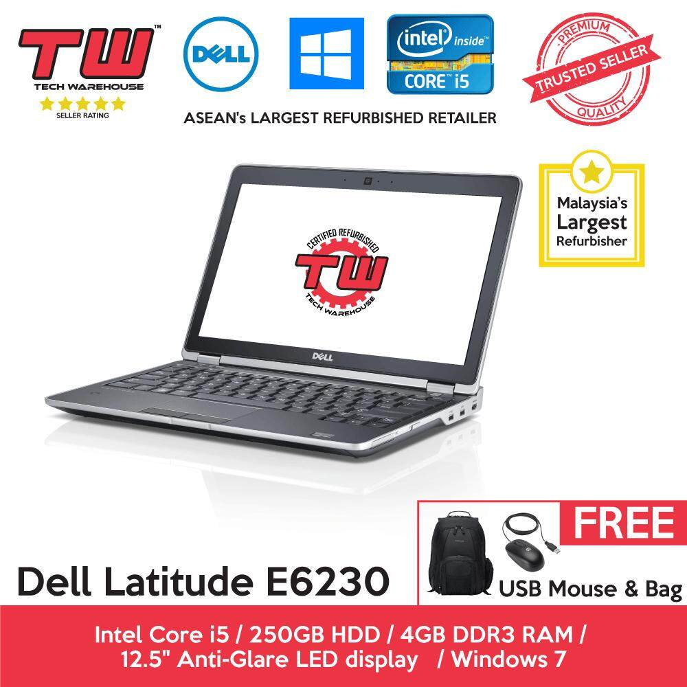 Dell Latitude E6230 Core i5 2.6 GHz / 4GB RAM / 250GB HDD / Windows 7 Laptop / 12 Month Warranty (Factory Refurbished) Malaysia