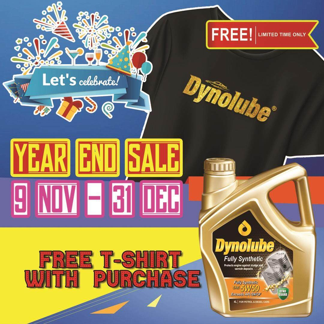 Dynolube 5W50 SN/CF Fully Synthetic 4Liter (For Turbo Engine) Engine Oil FREE 1 X T-Shirt (D)