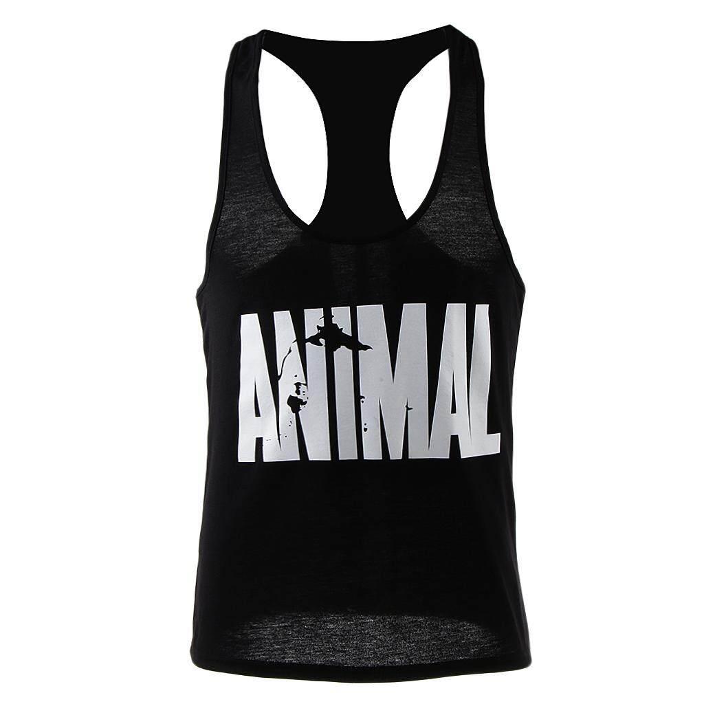 MagiDeal Men's Sleeveless Shirt Animal Gym Sports Vest Singlets Tank Top M Black A - intl