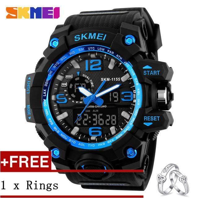 SKMEI 1155 Fashion Men Digital LED Display Sport Watches Quartz Watch 50M Waterproof Dual Display WristWatches + Free a Couple Rings