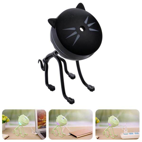 leegoal Ultrasonic Mini Cat Air Humidifier Essential Oil Aroma Diffuser USB Desktop Air Purifier Cool Mist Maker Atomizer For Car Home Office, Black Singapore
