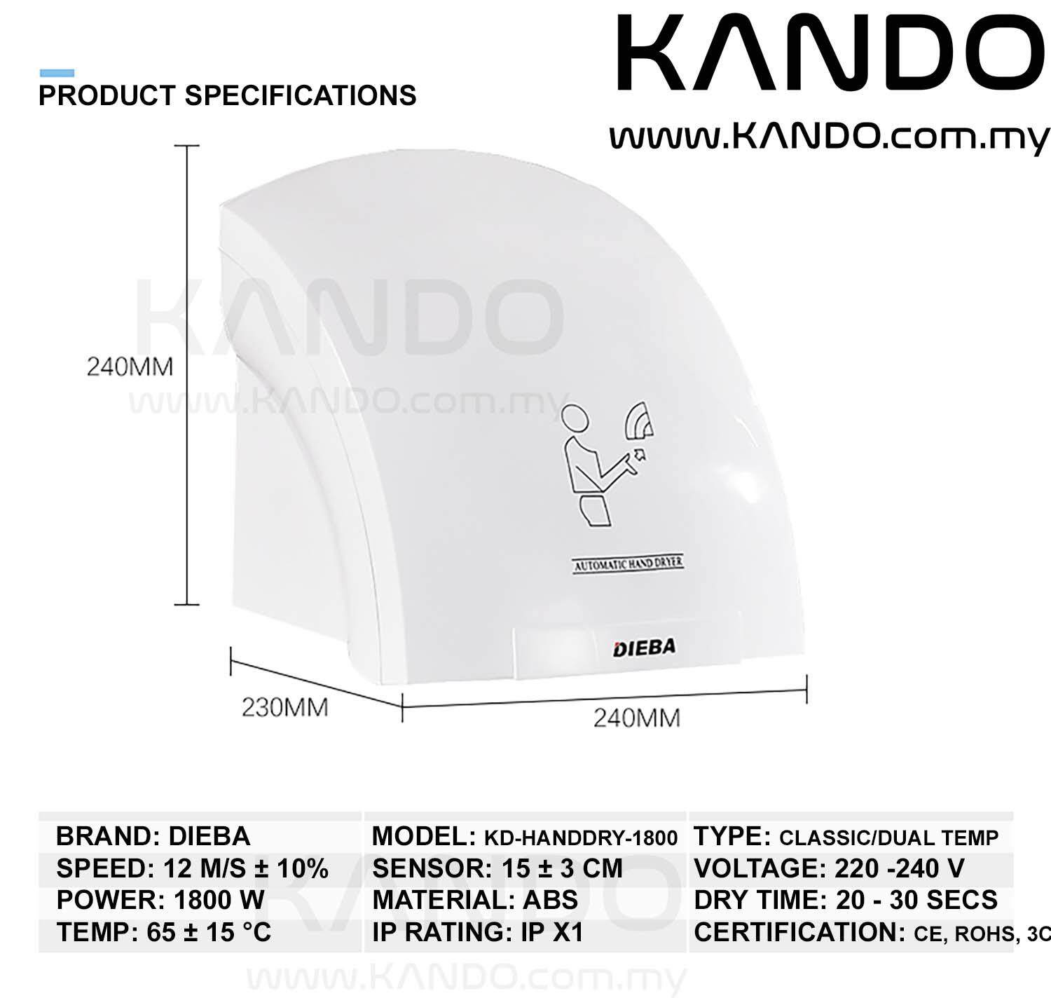 [MALAYSIA]Automatic Hand Dryer 1800W with Infrared Sensor Dual Temperature Air Drier Household Hand