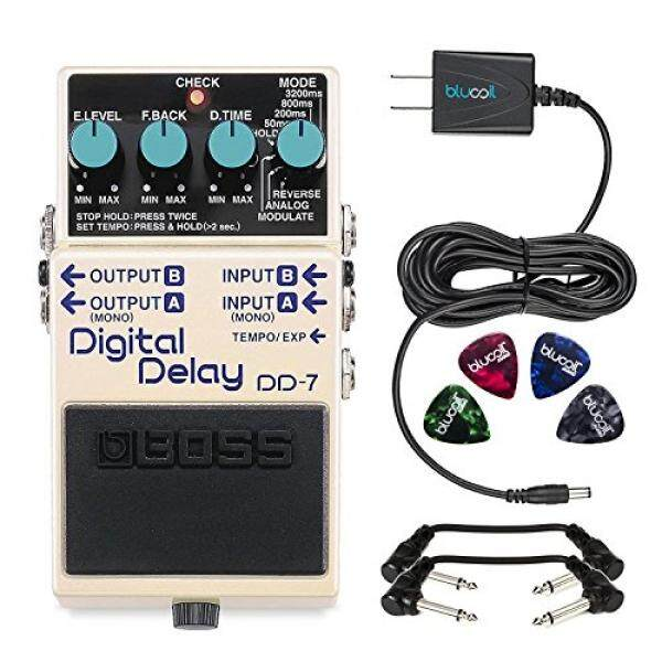 Boss DD-7 Digital Delay Stereo Pedal -INCLUDES- Blucoil Power Supply Slim AC/DC Adapter for 9 Volt DC 670mA, 4 Pack of Guitar Picks AND 2 Hosa 6-inch Molded Right-Angle Patch Cables - intl