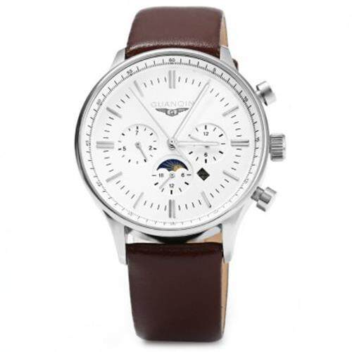 GUANQIN MALE LEATHER CALENDAR LUMINOUS ANALOG QUARTZ WATCH WITH MOVING SUB-DIALS (BROWN SILVER WHITE)