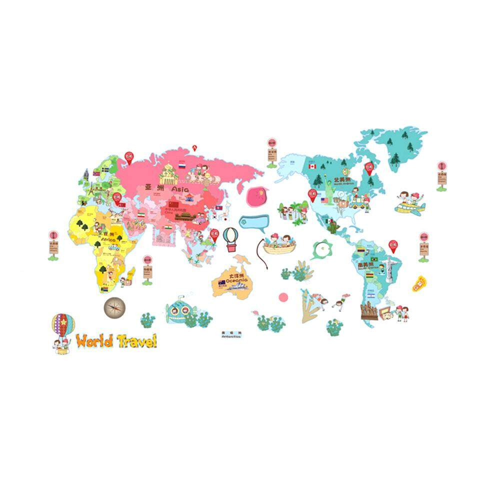 Wall stickers for sale wall decals prices brands review in wall sticker cute colorful world travel map sticker educational kids room pvc decal mural art home gumiabroncs Image collections