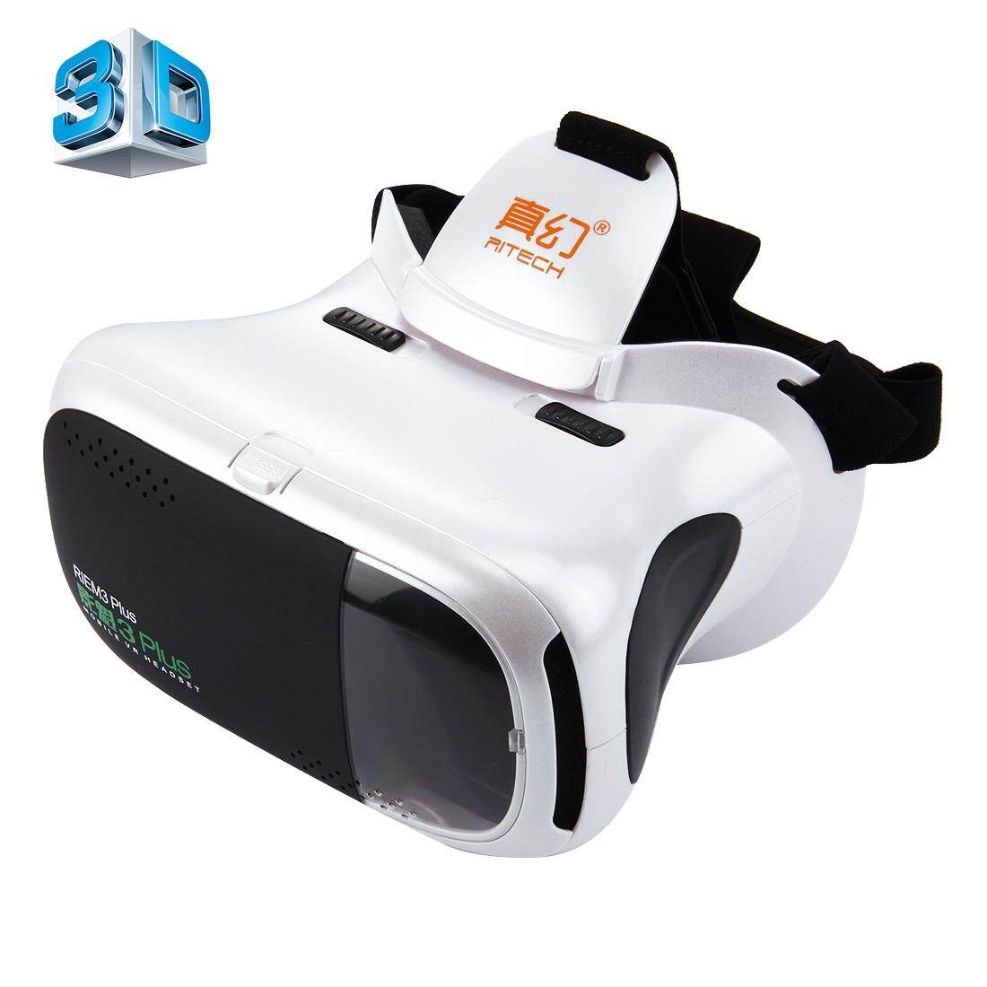 RITECH RIEM3 Plus 3D VR Virtual Reality Headset Mobile 360 Degrees Video Private Cinema Glasses Helmet with AR Augment Reality Window for 4.7-6 inch Smartphones - intl