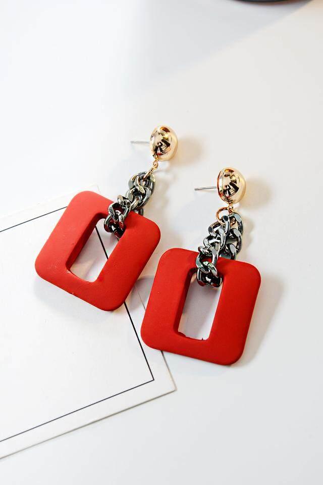 Baru Dongdaemun Anting Kayu Korea Temperamen Telinga Kayu Perhiasan Panjang Liontin Permen Warna Passion Merah)-Internasional