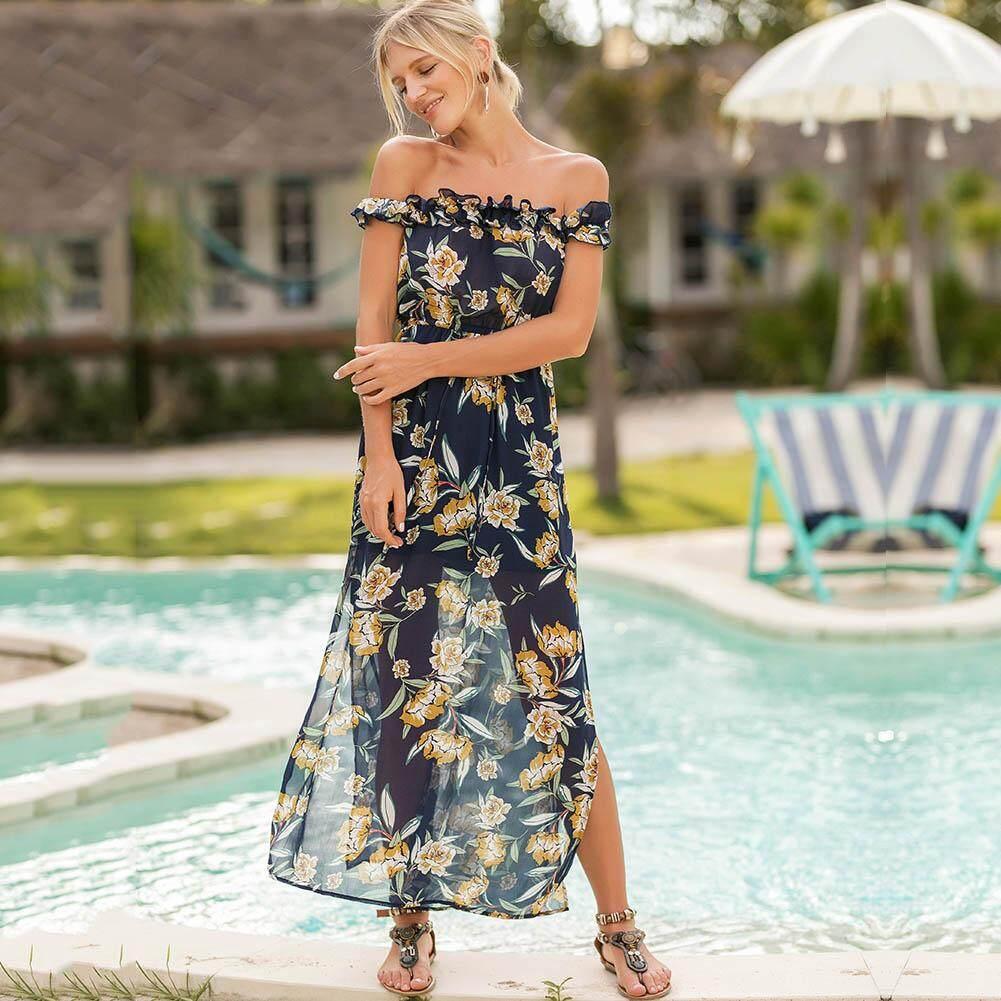 2dc240d1058 Sexy Women Boho Maxi Dress Off Shoulder Floral Print Split Summer Beach  Holiday Chiffon Long Dress