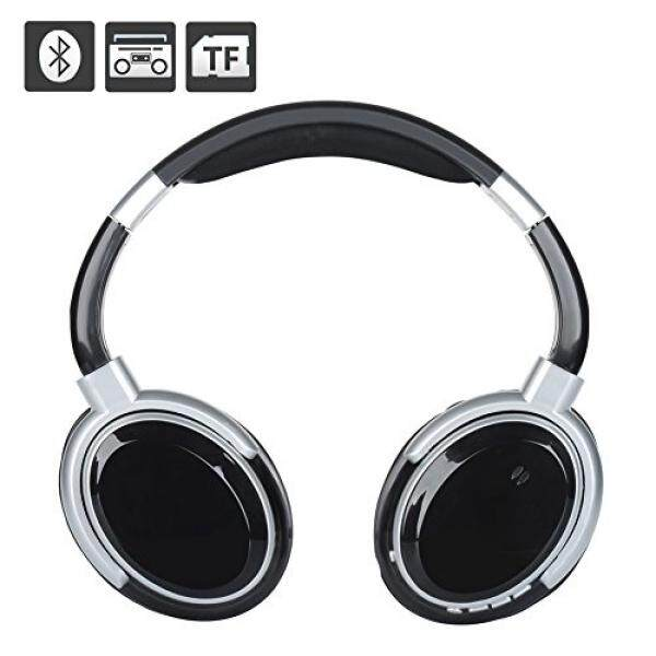 VOENXEE Bluetooth Headphones Bass Stereo Wireless Over Ear Headset with Mic for Cell Phone iPhone iPad Samsung TV PC Laptop Computer Gaming Support FM Radio, SD Card Wired Headphone 3.5mm Jack (Black) - intl