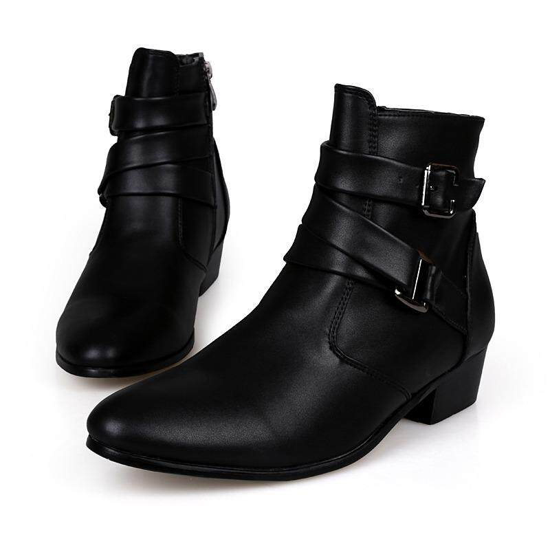 3a509a3fcb861 Men Big Size High Top Casual Shoes Leather Ankle Boots Fashion Designer  Shoes Student Lace Up