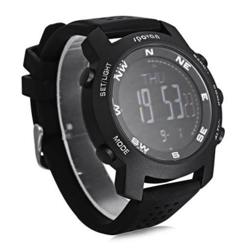 SPOVAN MULTIFUNCTIONAL OUTDOOR SPORTS MILITARY MOUNTAINEERING WATCH BAROMETER ALTIMETER THERMOMETER COMPASS CLIMBING WATCHES (BLACK)