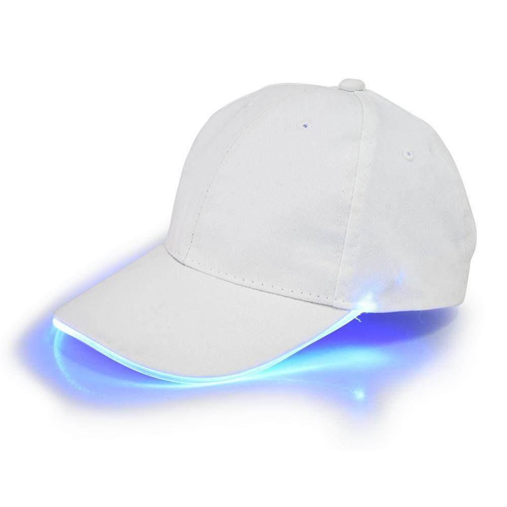 Hình ảnh Adjustable LED Lighted Baseball Caps Club Party Glowing Sport Hats (Blue Light White Cap) - intl