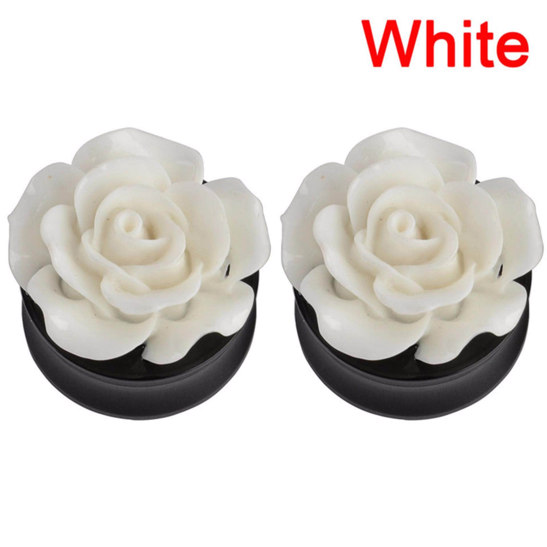 Ear Plugs Tunnels Pure Rose Flower Saddle Flesh Expanders Piercing Jewelry Chic White 22mm - intl
