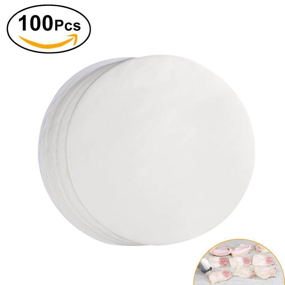 SHANYU 100Pcs Non-stick Round BBQ Paper Baking Sheets 11 Inch Barbecue Tin Foil Paper for Grill Line C