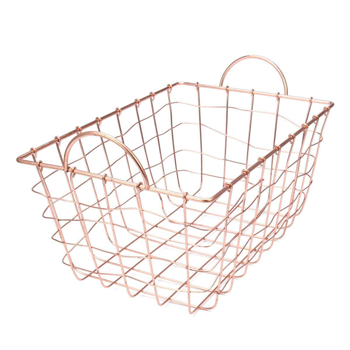 Copper Wire Metal Storage Basket Filing Crate Office Kitchen Living 4 Sizes - intl