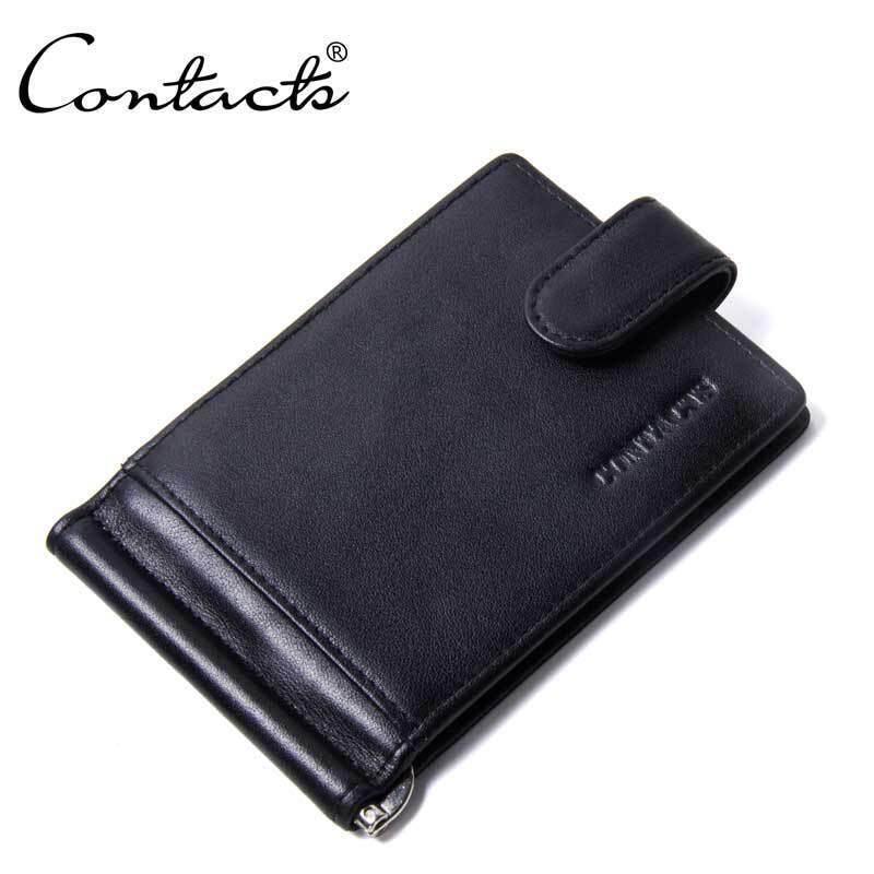 Pacento เหล้าองุ่นผู้ชายสั้นกระเป๋าสตางค์เงินคลิปซิป Bifold กระเป๋าสตางค์สไตล์ใหม่กระเป๋าสตางค์หนังแท้กระเป๋าสตางค์บริสุทธิ์สี - นานาชาติ By Pacento Official Store.