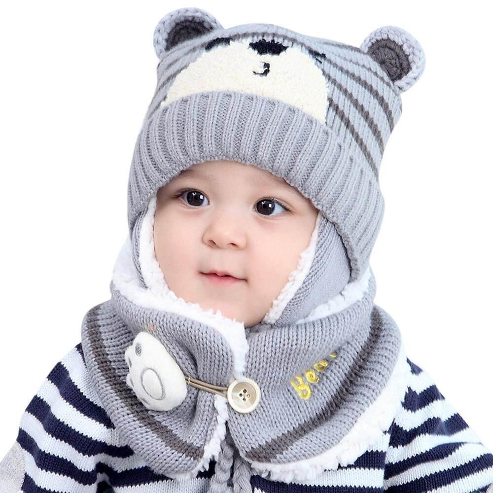 Bayi Anak Laki-laki Perempuan Rambut Bola Penyumbat Telinga Topi Anak Cetak Rajut Hats +