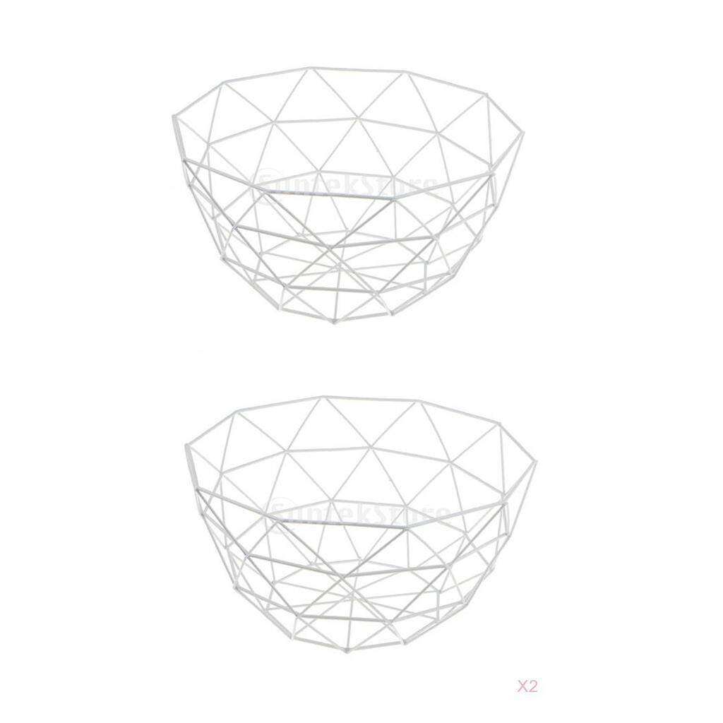 BolehDeals 2Pcs Wire Fruit Basket Bowl Food Serving Dish Candy Biscuit Snack Tray White - intl