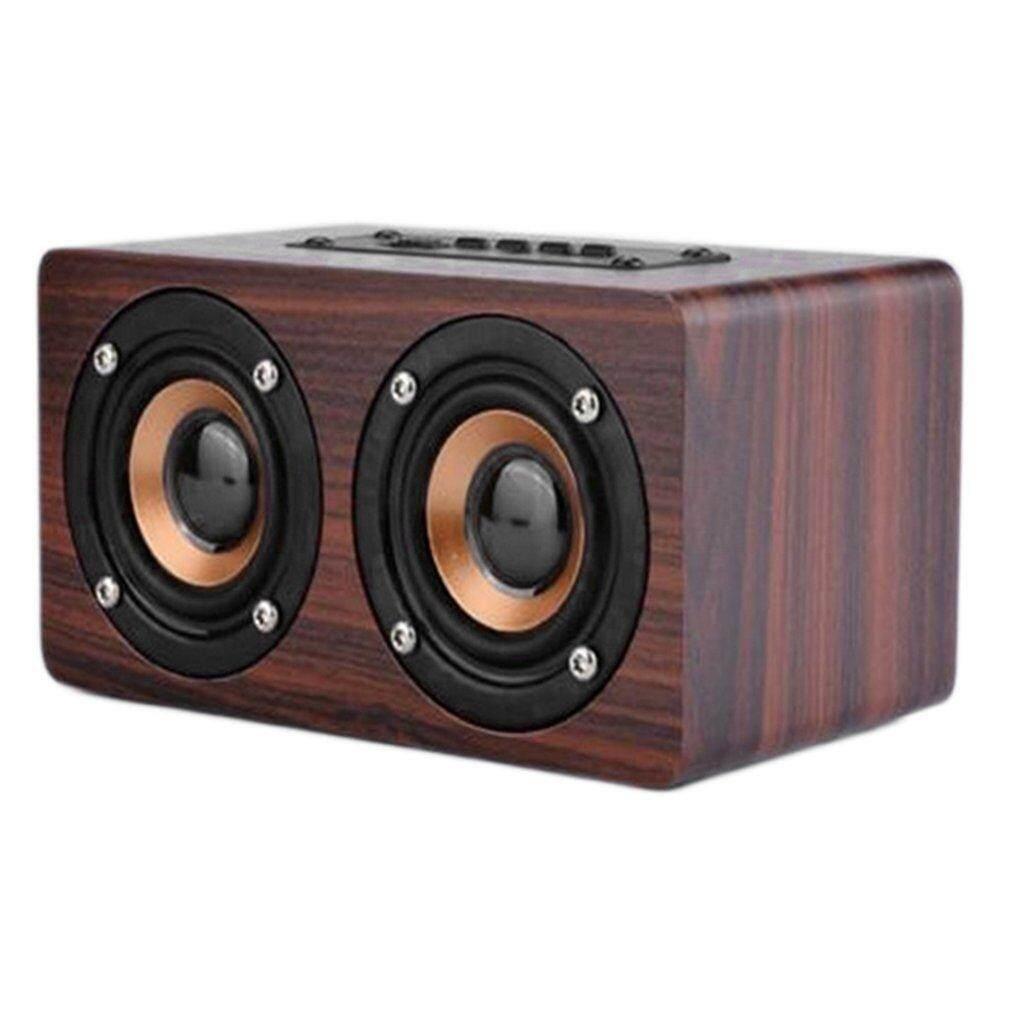 Allwin Speaker Kayu Pengeras Suara Bertenaga Bluetooth Kinerja Tinggi Pengeras Suara Ganda