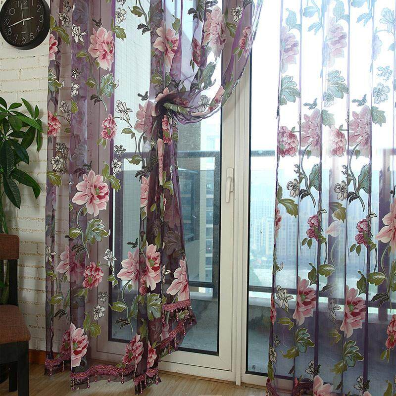 PAlight 2Pcs Window Curtain Transparent Peony Flower Home Curtains Decoration(size:1) - intl