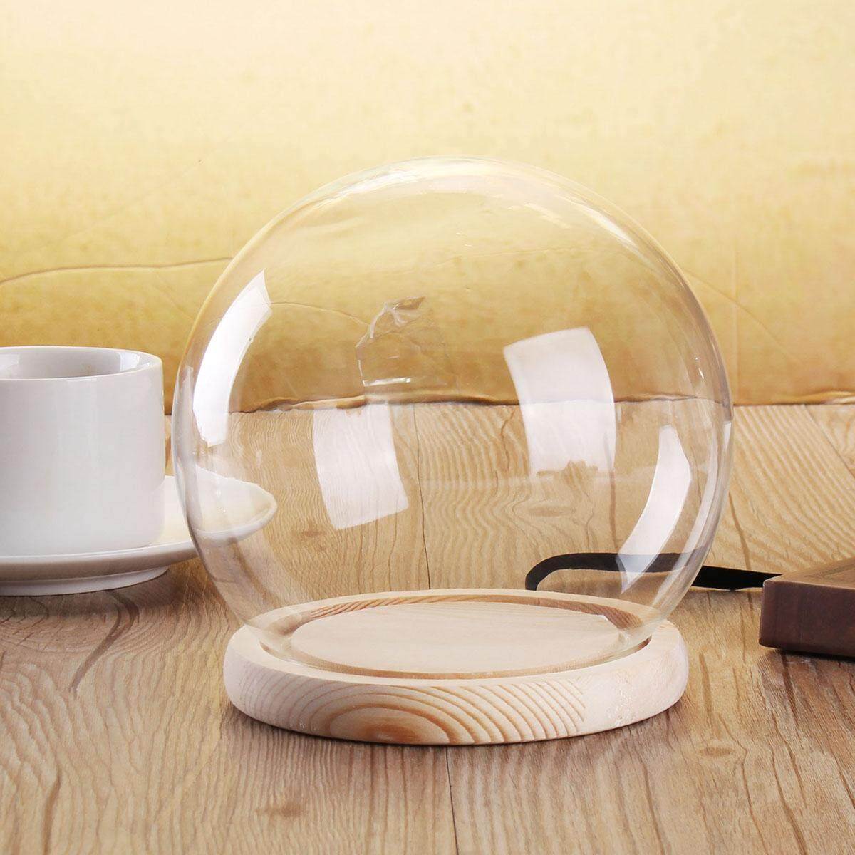 Small Glass Stand Display Dome Cloche Globe Bell Jar Tealight Flower Cover - intl