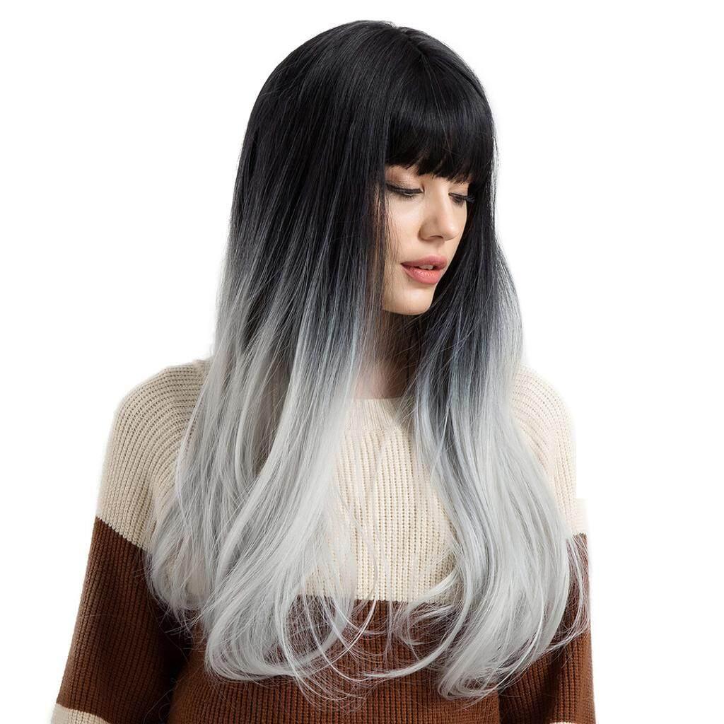 Magideal Wanita Rambut Palsu Panjang Sraight Berponi Penuh Wig Tahan Panas Ombre Abu-abu W/Cap-Intl