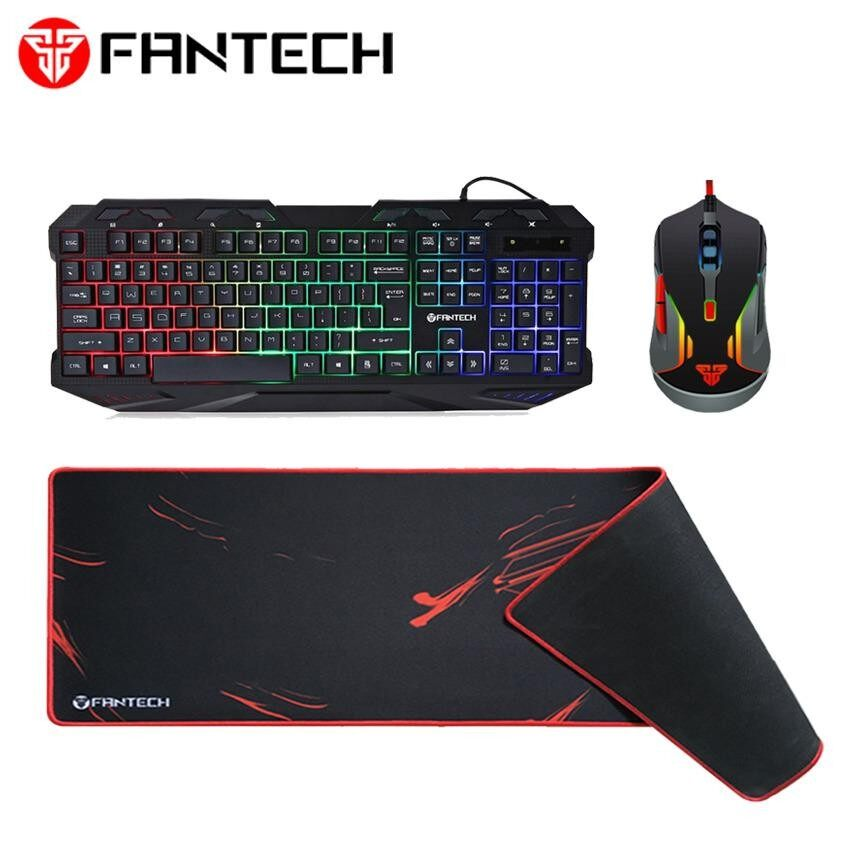 Combo Fantech K10 Backlit Pro Gaming Keyboard + FANTECH (SP21) V5 WARWICK 3200 DPI USB Optical 6 Buttons Full Function RGB Light Gaming Mouse + Fantech MP80 Gaming Mouse Pad Malaysia