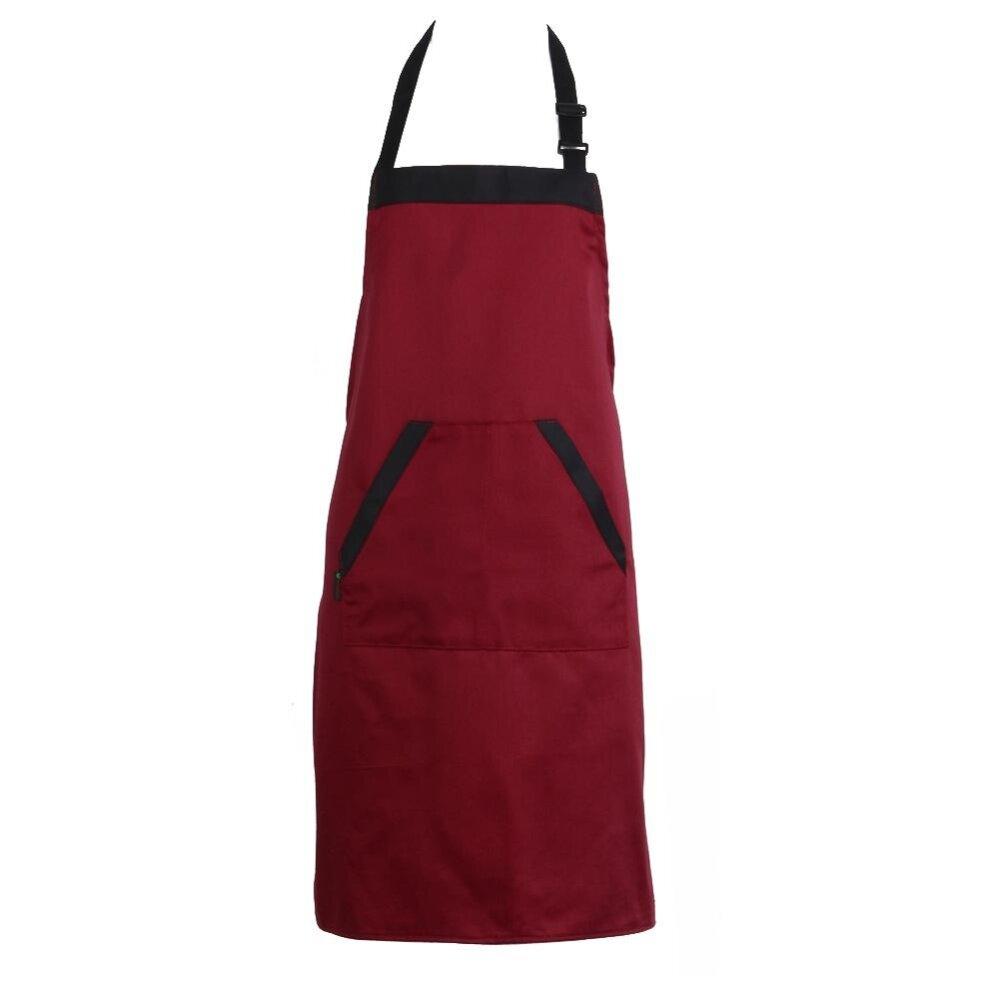 Uniseks Halterneck Celemek dengan 2 Kantong Chef Pelayan Dapur Alat Masak -Internasional
