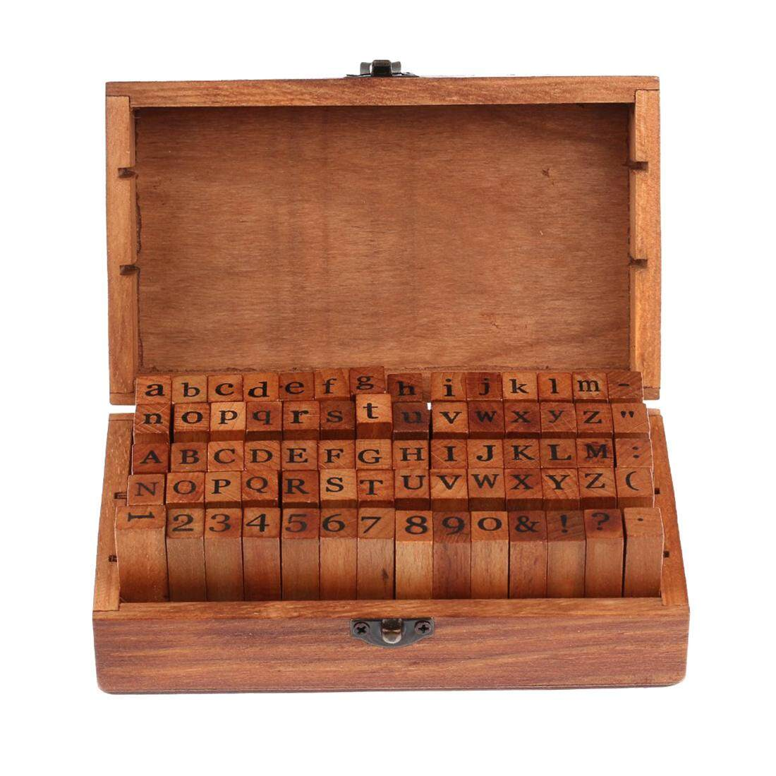 Big Sale 70pcs Vintage DIY Number And Alphabet Letter Wood Rubber Stamps Set With Wooden Box For Teaching And Play Games - intl