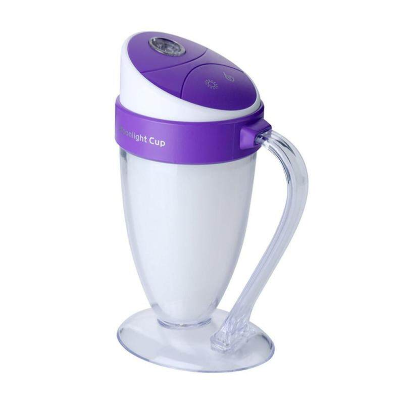 HONGHUI USB Humidifier Moonlight Cup Humidifier LED Atmosphere Night Light Mini Air Purifier,100ML,Purple Singapore