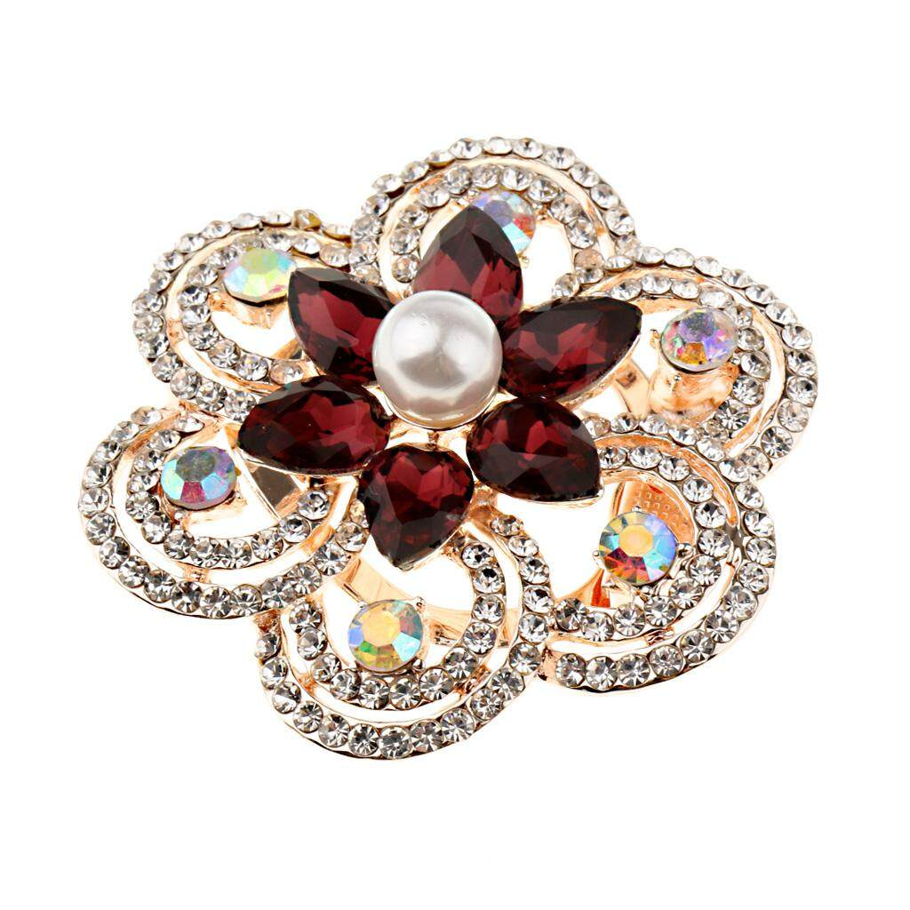 BolehDeals Statement Rhinestone Flower Scarf Ring Buckle Pearl Brooch Jewelry Purple - intl