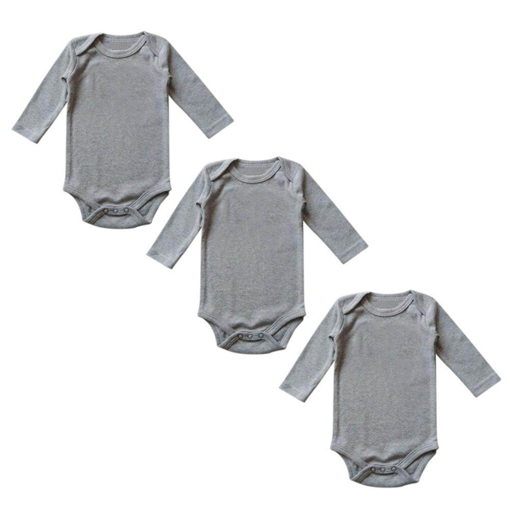 Rd 3pcs Newborn Baby Soft Cotton Romper Toddler Jumpsuits Boys Girls Bodysuit Long Sleeve Round Neck Clothes By Redcolourful.