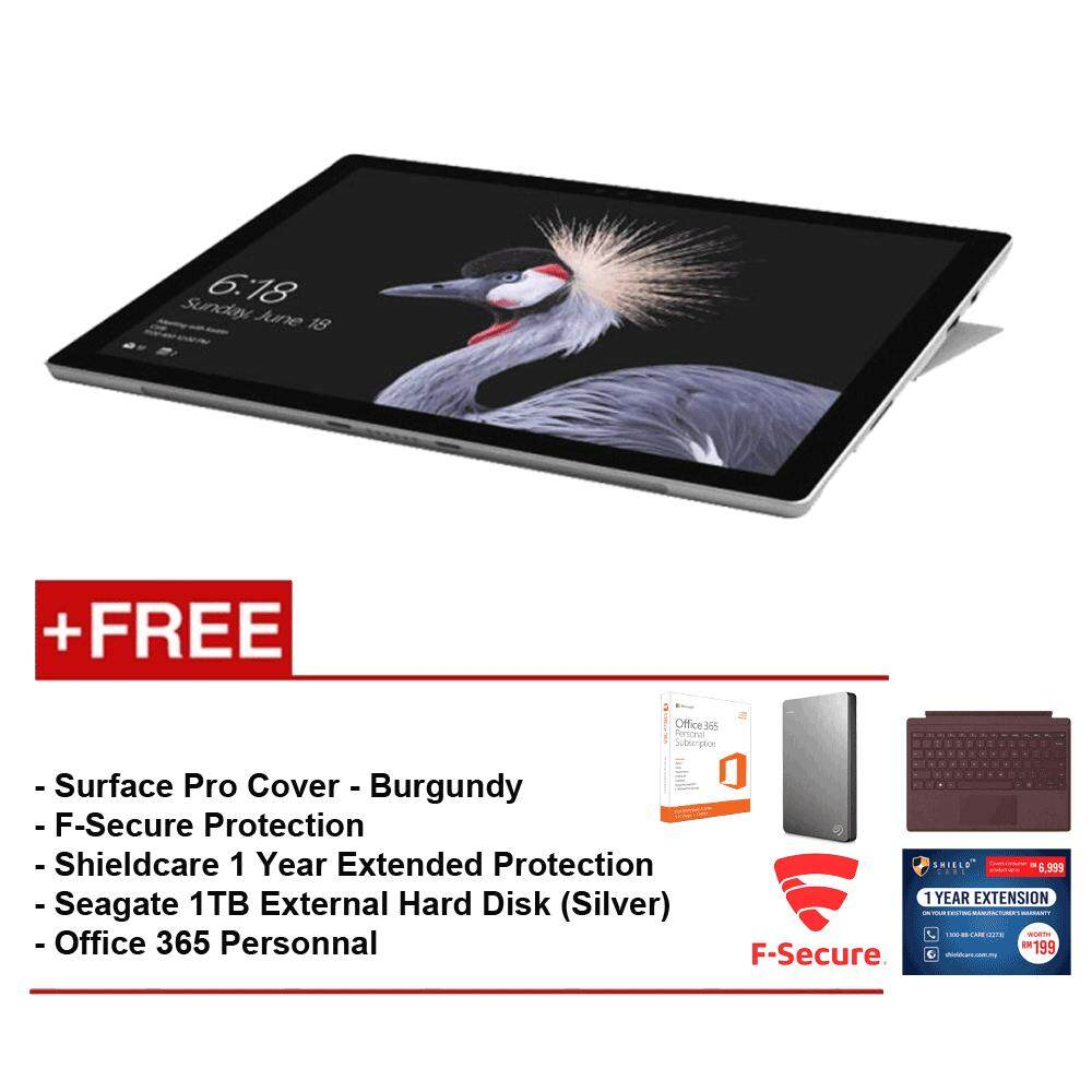 NEW Microsoft Surface Pro - Core i5 8G/256GB Free Surface Pro Type Cover (Burgundy) + Shieldcare 1 Year Extended Warranty + F-Secure EndPoint Protection + Seagate 1TB External Hard Disk(Silver) + Office 365 Personal Malaysia