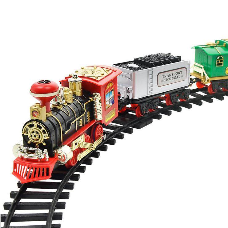 Remote Control Conveyance Car Electric Steam Smoke RC Train Set Model Toy Gift - intl