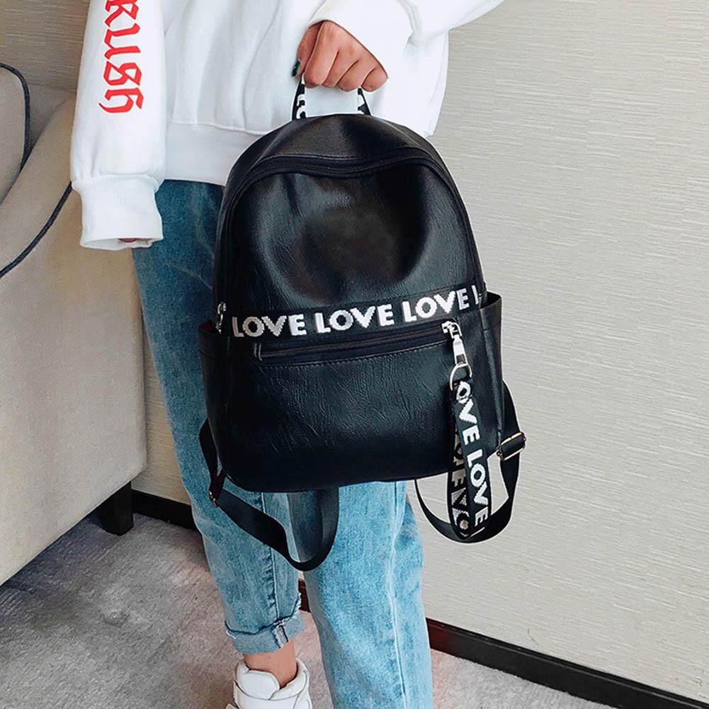 Amart Women Ladies Travel Backpack PU Leather Letters Ribbon Decoration Handbag Girl Student School Shoulder Bags ...
