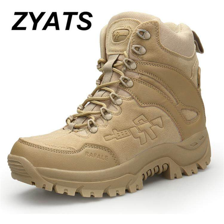ZYATS Men High Quality Leather Safety Work Boots Waterproof Tooling Shoes Lelaki Kerja & Kasut But Keselamatan Wearable Field Boots