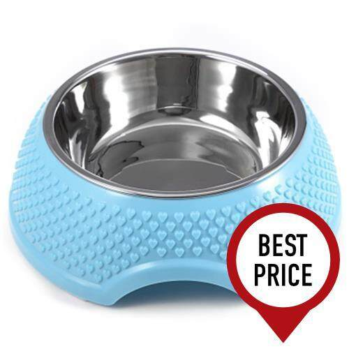FASHION STAINLESS STEEL DETACHABLE DOG CAT PUPPY PET FEEDER BOWL (AZURE)