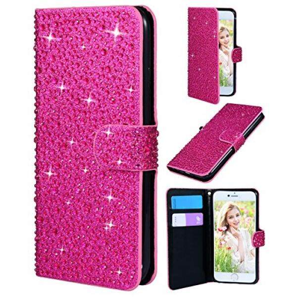IPhone 10 Case, Iphone X Dompet Case, flyee Bling Kristal 3D Pola Hujan Sparkly PU Dompet Pelindung Case With Jual Penutup Tombol Magnetik Anda Apple Iphonex IPhone10 Mawar -Internasional