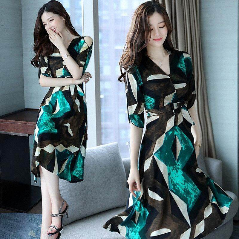 ... Indah Power Baru Populer Wanita Bunga Bohemian Baju Pesta Besar Rok Panjang Ayunan Pantai Gaun Sifon ...