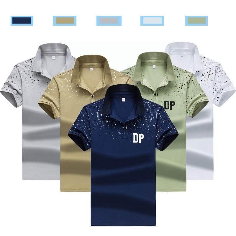 Grandwish Polo Kemeja Desain Titik Gelombang Kasual Kaus M-3XL