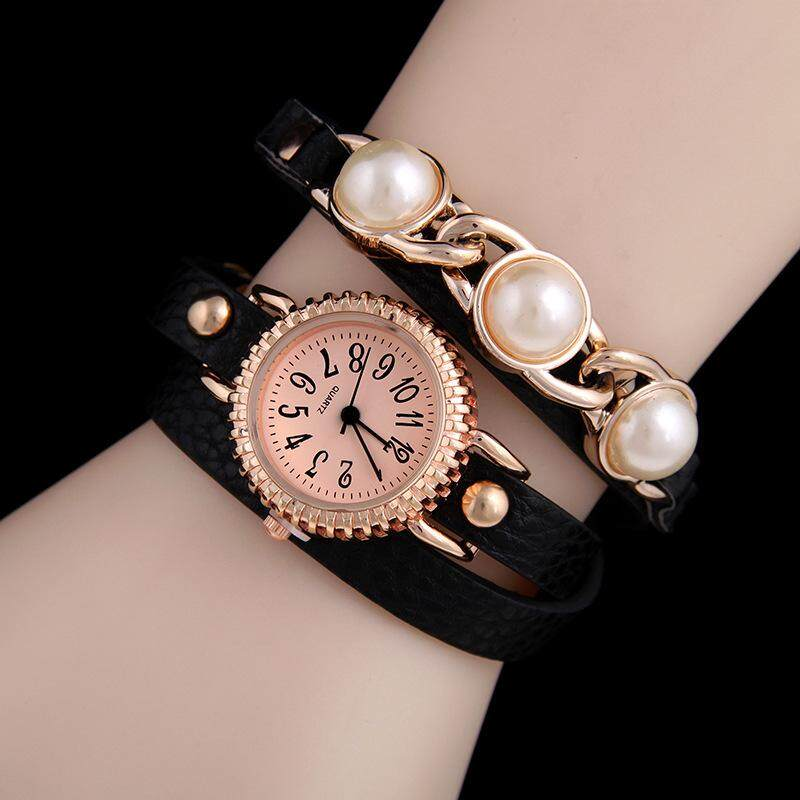 Pearl PU winding watch lychee pattern ladies bracelet watch three times winding quartz watch(green)