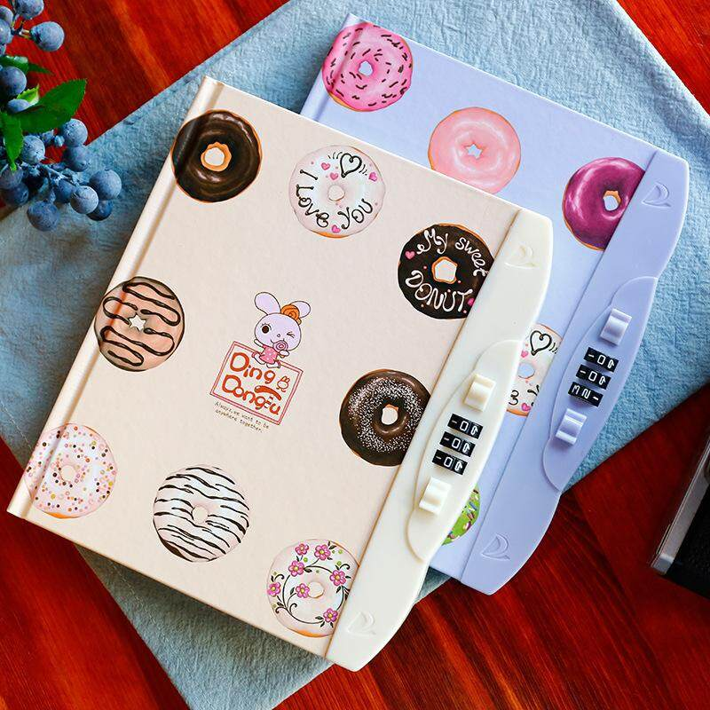 Kawaii Children Creative Hard Copy Book Password Notebook Student Diary With Lock Notebook Random Color - Intl.