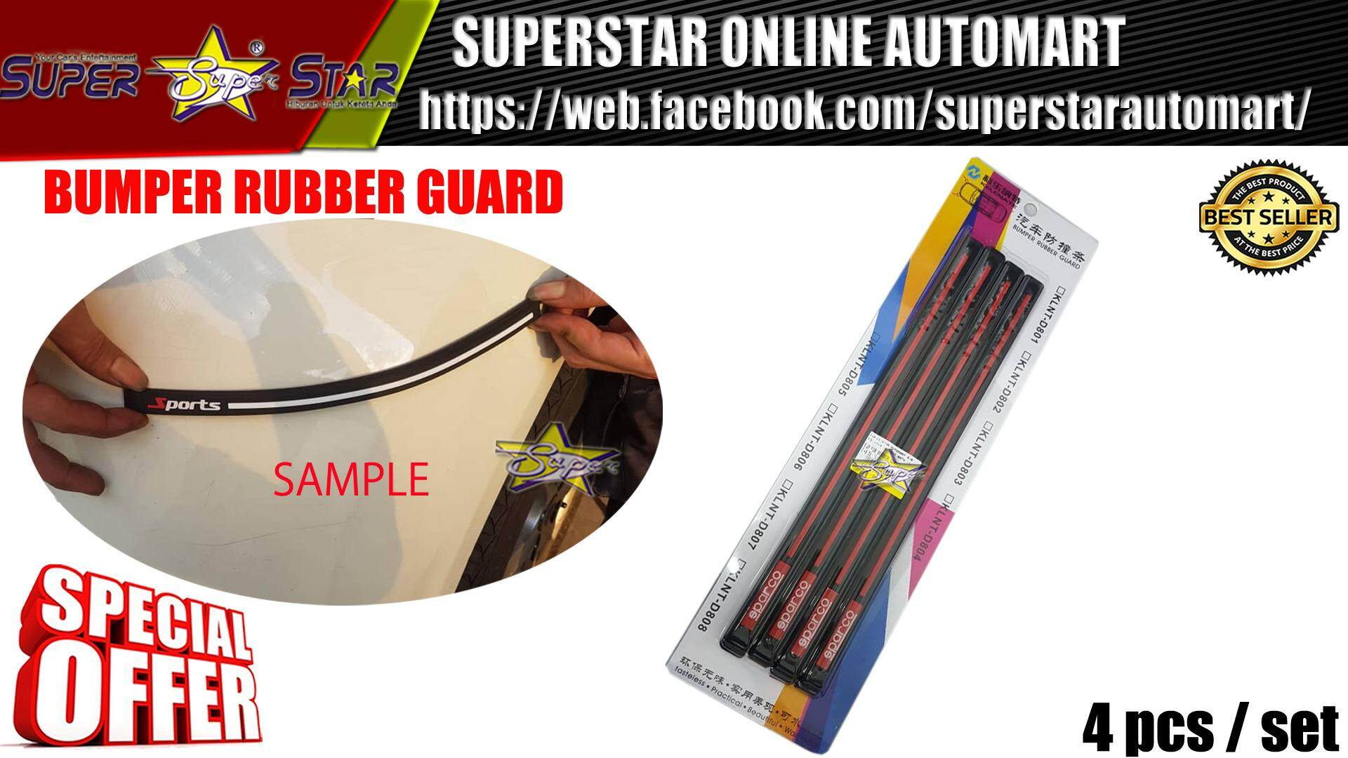 BUMPER RUBBER GUARD SPARCO (RED LINE)