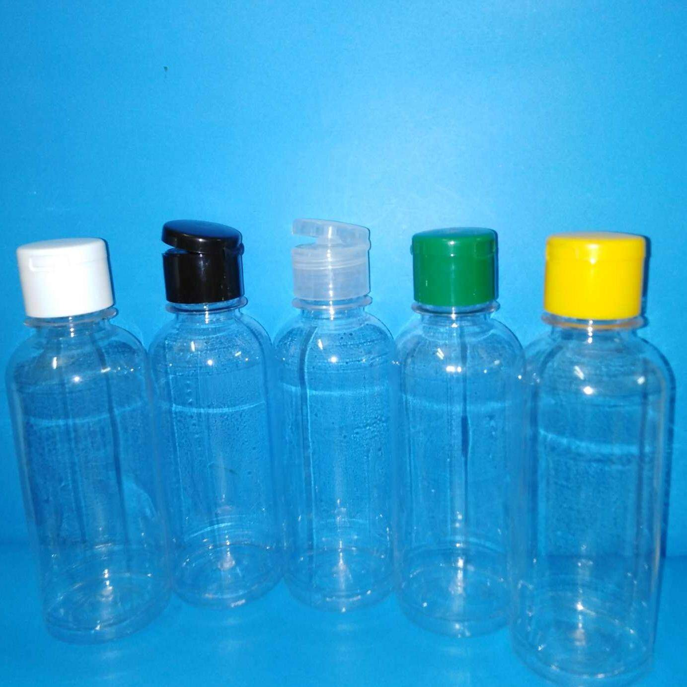 50pc of 250ml clear plastic bottle with flip top cap