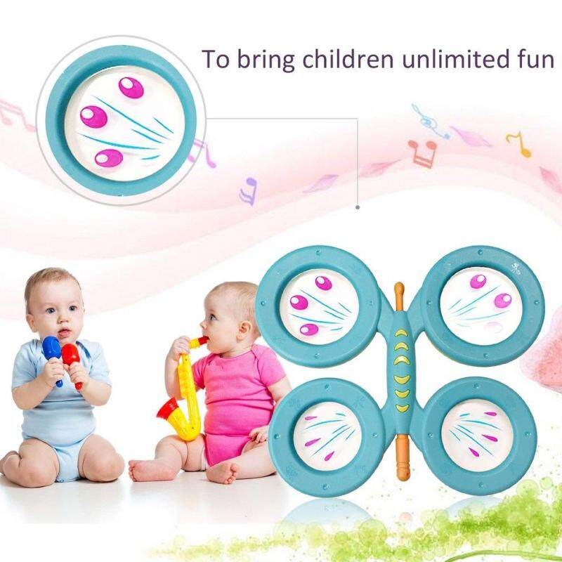 USTORE Orffworld Butterfly Drum Plastic Cartoon Drum Kids Musical Instrument Toy