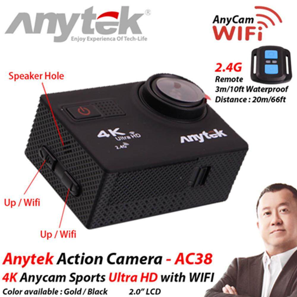 ANYTEK 4K AnyCam CAR DVR AC-38 3-in-1 Ultra HD Action Camera, Camera and DVR Function + 2 Free Gift (Black)